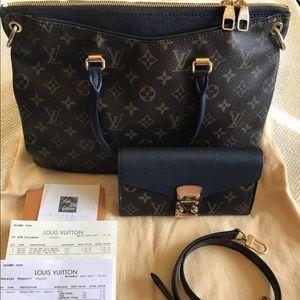 Auth Louis Vuitton Pallas 2way Bag w/Match Wallet